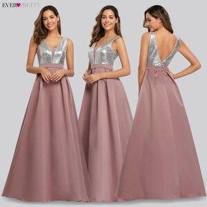 Image 4 - Ever Pretty V Neck Sequined Bodice Backless A Line Long Evening Dresses Elegant Vestido De Festa Fast Shipping Satin Prom Gowns