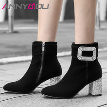 ANNYMOLI Winter Ankle Boots Women Boots Rhinestone Thick High Heels Short Boots Zip Square Toe Shoes Lady Autumn Plus Size 33-43 annymoli winter ankle boots women rhinestone stiletto high heel short boots zip pointed toe shoes ladies autumn plus size 34 43