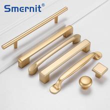 Матовые золотые дверные ручки для мебели шкафов и ящиков Алюминиевый сплав Современный кухонный шкаф ручки