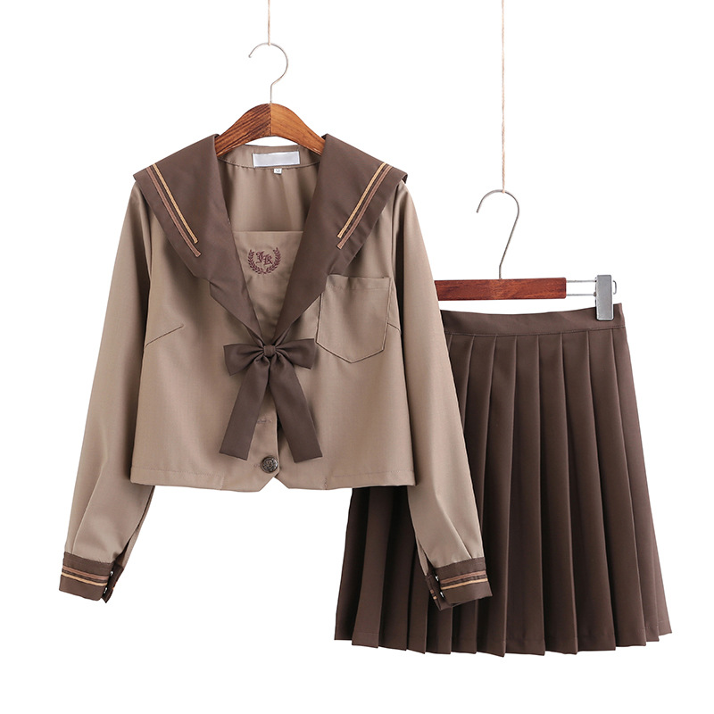 School Dresses Japanese Jk Uniforms Khaki Brown Sailor Suit Anime Pleated Skirt Uniform Dress For High School Girls Students