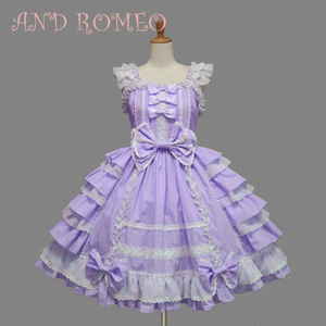Image 3 - Classic Lolita Dress Womens Layered Cosplay Costume Cotton JSK Dress for Girl 10 Colors