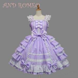 Image 3 - Klasik Lolita elbise kadın katmanlı Cosplay kostüm pamuk JSK elbise kız için 10 renk