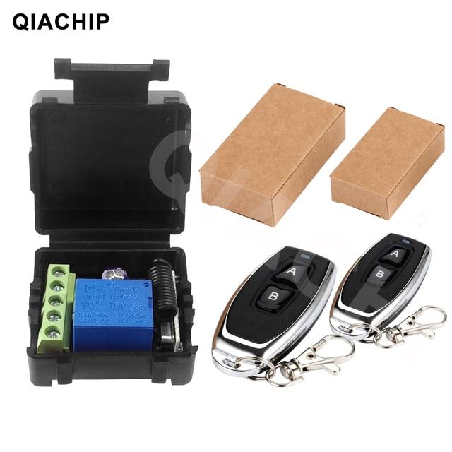 QIACHIP 433 Mhz العالمي لاسلكي للتحكم عن بعد التبديل تيار مستمر 12 فولت 1CH التتابع وحدة الاستقبال RF الارسال 433 Mhz التحكم عن بعد