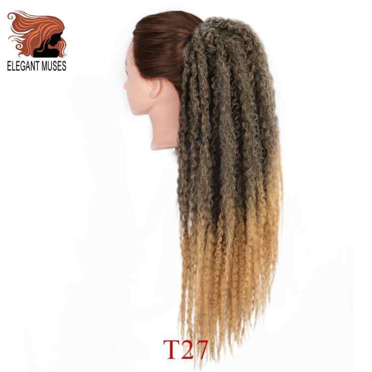 Afro Bladerdeeg Marley Vlechten Haar Afro Kinky Straight Paardenstaart Biologische Haarstukje Synthetische Gehaakte Vlechten Hair Extensions Bulk Kroeshaar
