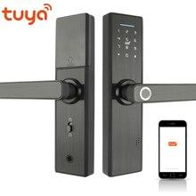 RAYKUBE Wifi электронный дверной замок с приложением Tuya удаленно/биометрический отпечаток пальца/смарт-карта/Пароль/ключ разблокировки FG5 Plus
