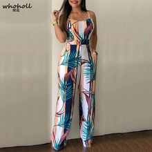 Women Spaghetti Strap Leaf Print Wide Leg Bodycon Jumpsuit Sleeveless Streetwear Fashion Summer Bohemain Style Jumpsuits fashionable ethnic style print spaghetti strap jumpsuit for women