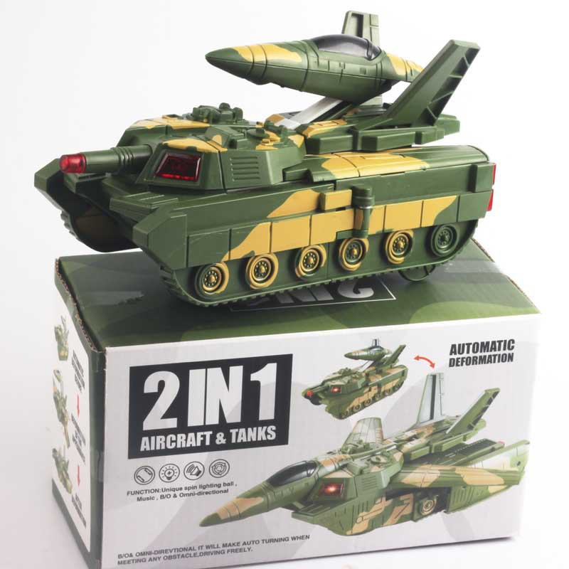 Hot Selling Plastic Electric Flash Tanks Military Model Children Music Transformation Tank Model