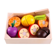 купить Baby Wooden Pretend Toy Wooden Kitchen Toys Pretend Play kitchen Toys Cutting Fruit Vegetable Education Food Toys дешево