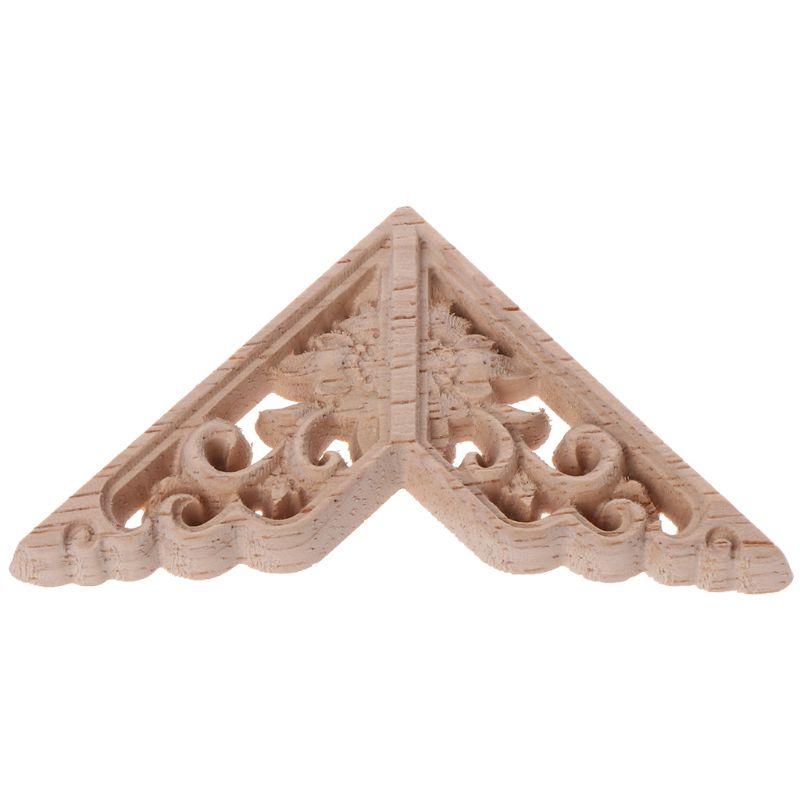 Купить с кэшбэком 4pcs/set Wood Carved Corner Onlay Applique Unpainted Frame Decal For Home Furniture Decor 6x6cm