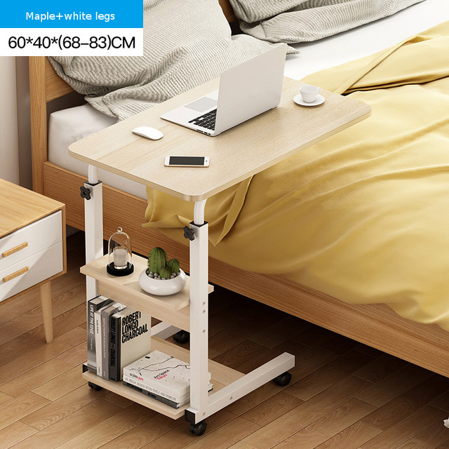 64x40CM Foldable Computer Table Adjustable Portable Laptop Desk Rotate Laptop Bed Table Can be Lifted Standing Bedside Desk