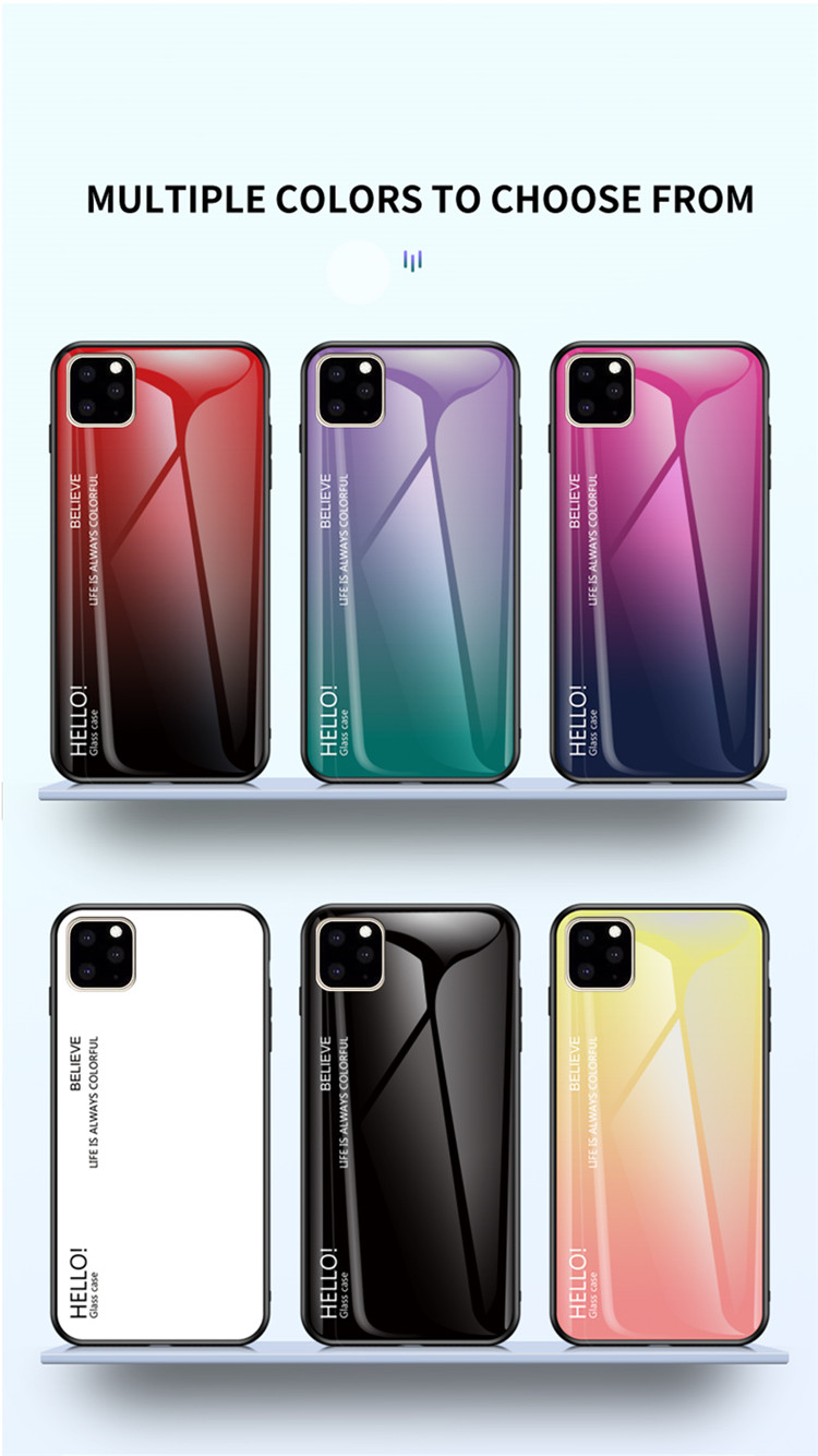 Ollyden Gradient Tempered Glass Cases for iPhone 11/11 Pro/11 Pro Max 36