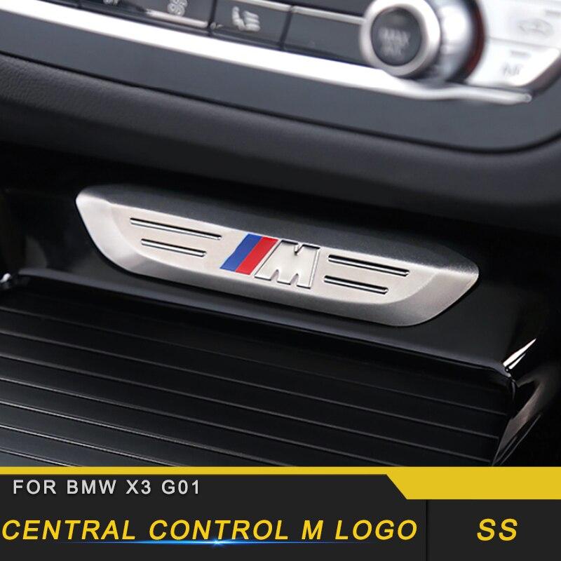 For 2018 2019 BMW X3 G01 X4 G02 Car Center Console M Logo Cover Frame Trim Automotive Interior Stickers Accessories