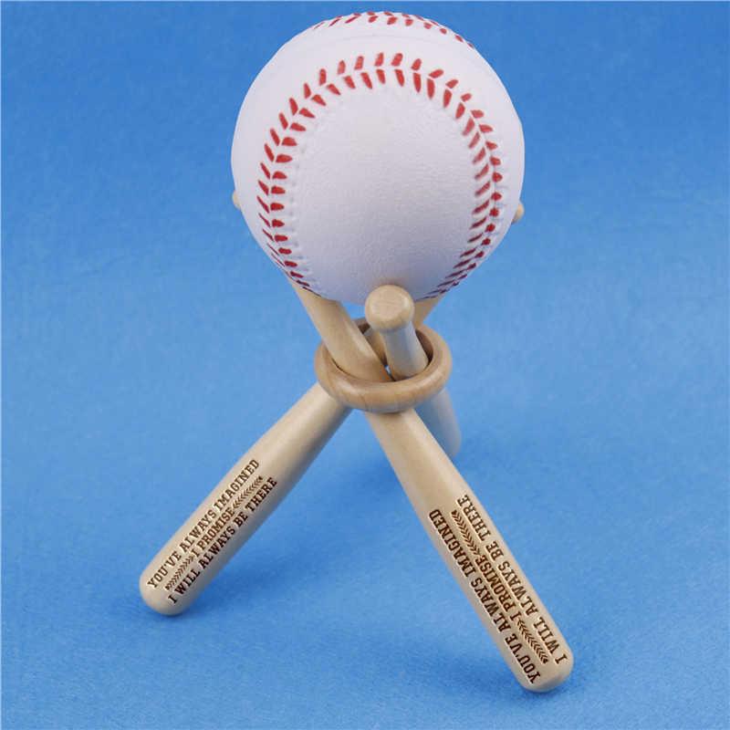 1 zestaw Mini Wood Baseball Bat Golf tenis piłka wyświetlacz podstawa stojak uchwyt grawerowane piłka uchwyt do przechowywania wsparcie dostosowane prezent