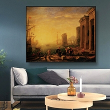 Canvas Oil Painting《Early morning at the harbor》Claude Lorrain Poster Wall Decor Modern Home Decoration For Living room Office the morning room свитер