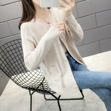 12113 Actual Shot 189 New Knitted Card Woman Hollow Sweater Overcoat 40(China)