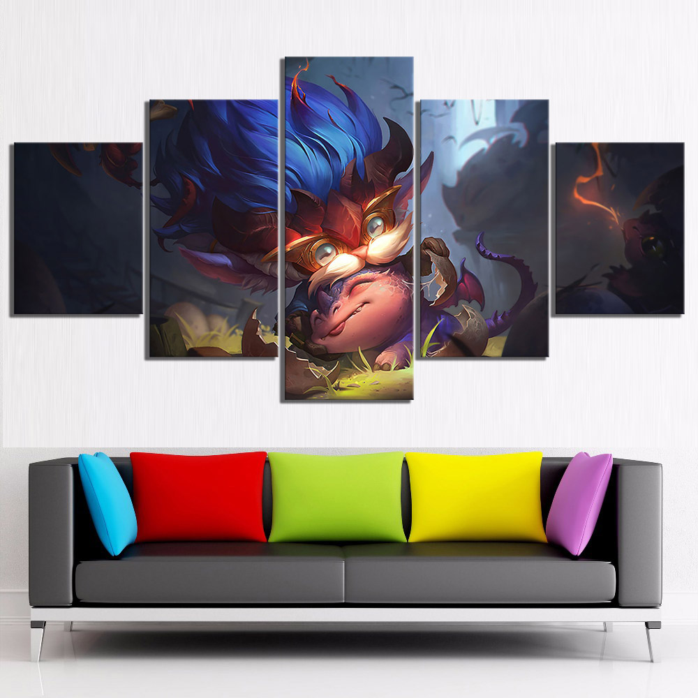 5 Piece Digital Art Paintings Heimerdinger Lol League of Legends Video Games Poster Wall Sticker Canvas Paintings Wall Art