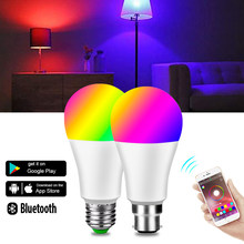 Bombilla LED E27 con Bluetooth para el hogar bombilla inteligente RGB de 15W, B22, RGBW, RGBWW, colorida y regulable con Control por aplicación móvil