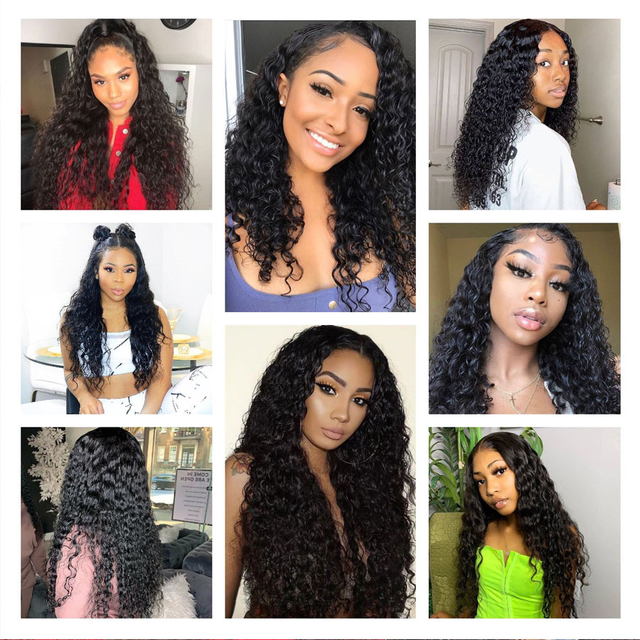 Curly 4x4 Lace Closure Wig Water Wave Lace Front Human Hair Wigs Gossip Hair 150 Density Brazilian Remy Frontal Wig pre plucked (5)