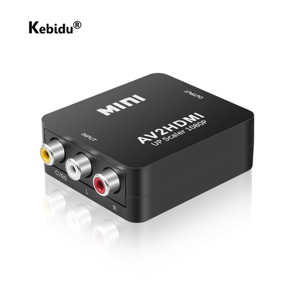 Kebidu av para hdmi switch box av2hdmi conversor completo hd 1080 p adaptador de áudio mini rca composto macho para hdmi adaptador fêmea