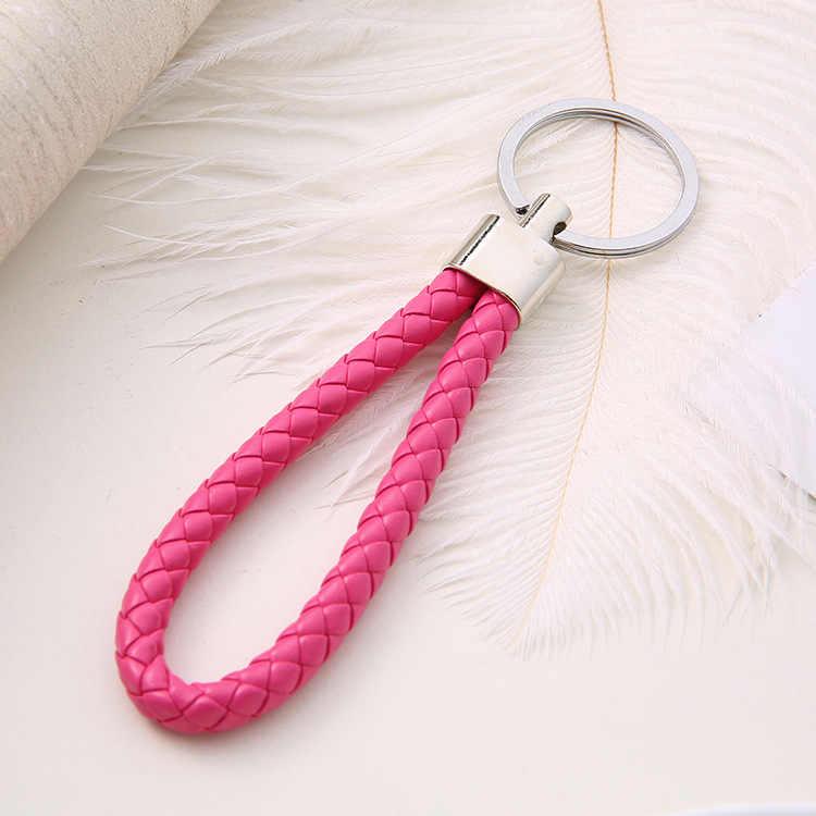 אופנה בעבודת יד עור חבל ארוג Keychain מתכת מפתח טבעות מפתח שרשרות גברים או נשים לכסות מחזיק מתנות