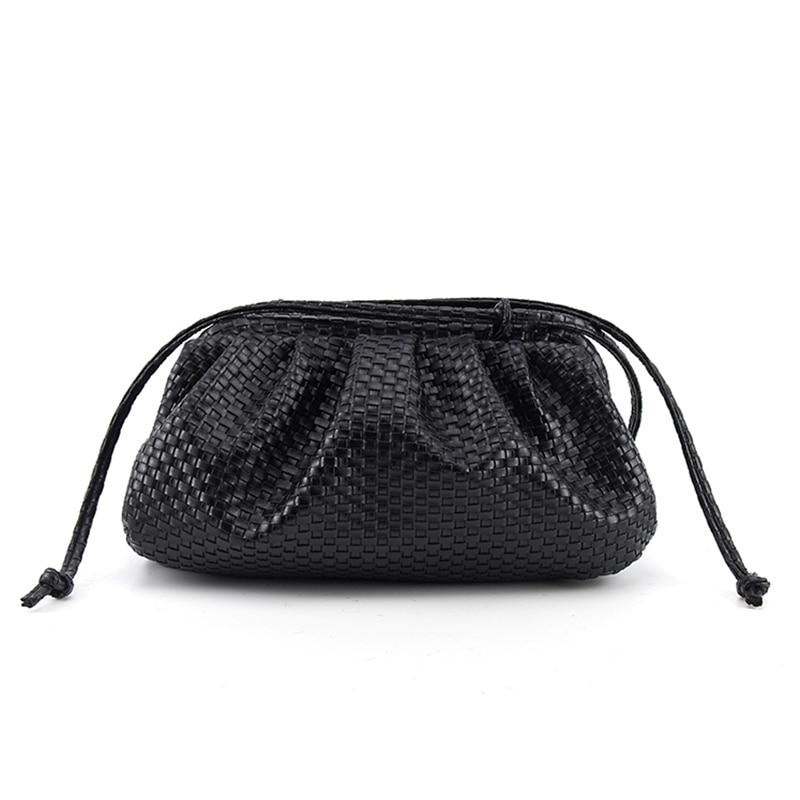Women Woven Cloud Bag Soft Leather Handbags Women Bag Single Shoulder Slant Dumpling Bag Handbag Day Clutches Bags Messenger Bag