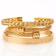 Mcllroy 3 ชิ้น/เซ็ต Luxury Gold/เหล็ก 316L สแตนเลสสายรัดข้อมือ Braiding กำไลข้อมือเปิดกำไลข้อมือสำหรับชาย Amazing ราคา