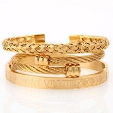 Mcllroy 3 pz/set di Lusso Oro/acciaio 316L In Acciaio Inox Wristband Treccia Braccialetti di Apertura Braccialetti A Fili Multipli Per Gli Uomini prezzo Incredibile