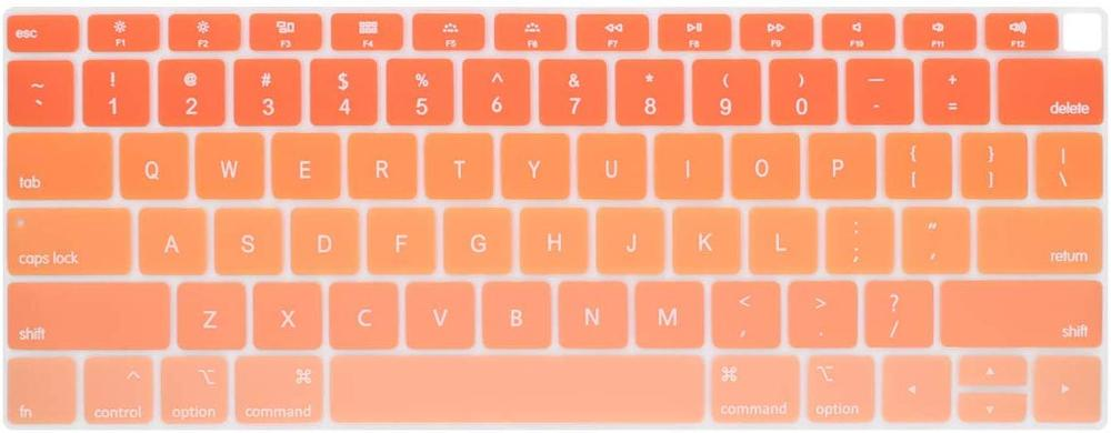 Silicone Keyboard Cover for MacBook New Air 13 Model A1932 2018 2019 US Enter English Alphabet-Pink to Blue