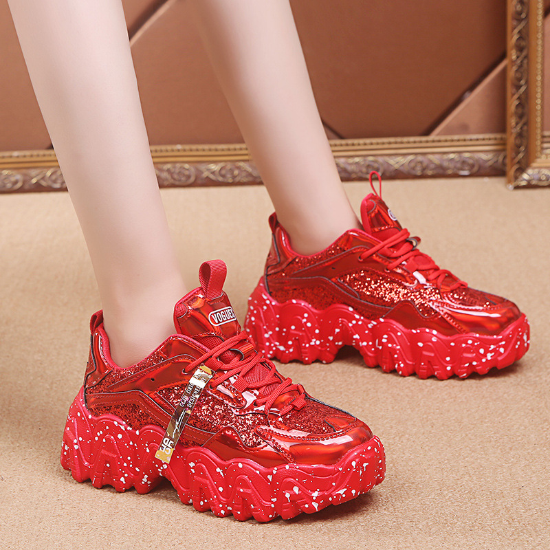 Chunky Sneakers 2020 New Arrival Bling PU White Shoes Woman Sneakers Sequined Cloth Zapatillas Mujer Girls Casual Shoes Women