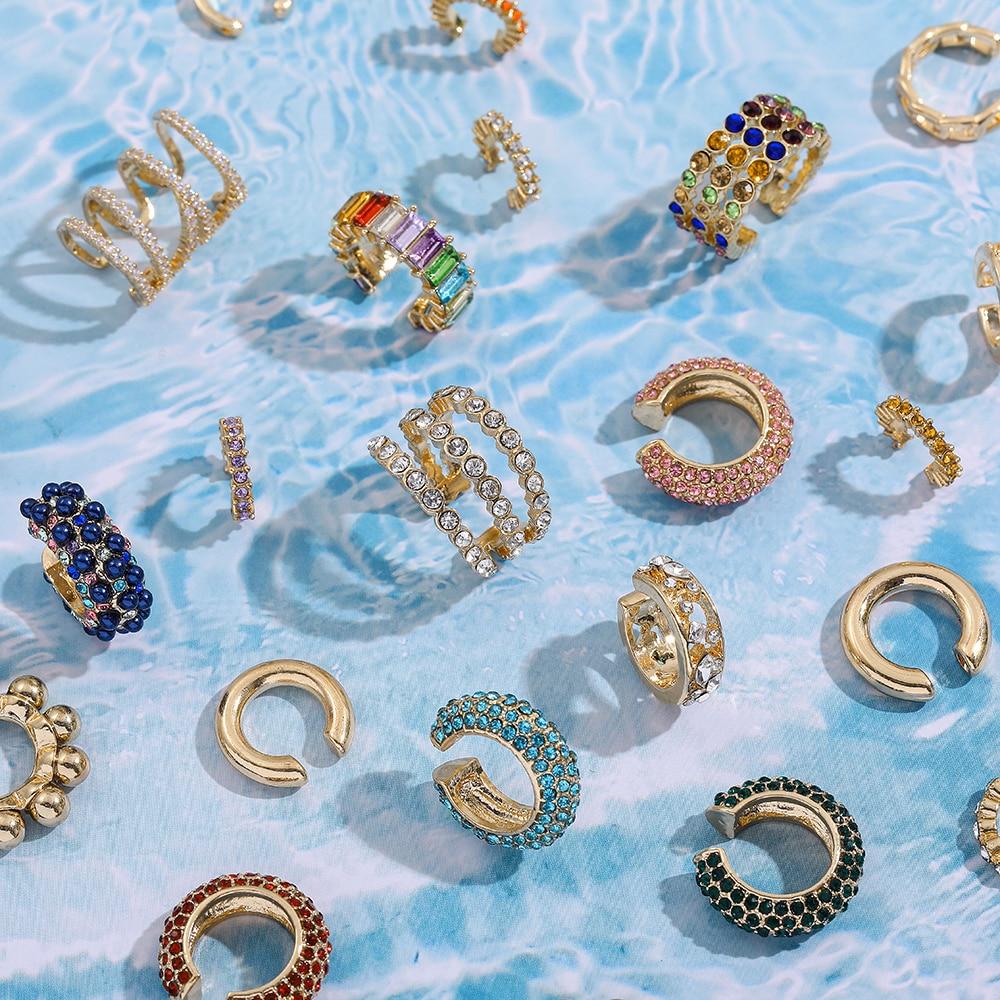 Conjunto de pendientes de Metal y cristal para mujer, aretes de diamante de imitación, estilo bohemio