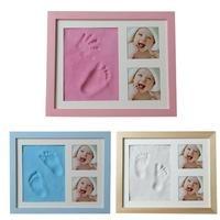 Baby souvenirs Hands Feet Print Mold Maker Photo Frame With Cover Fingerprint Mud Set Growth Memorial Gift bebek PINK
