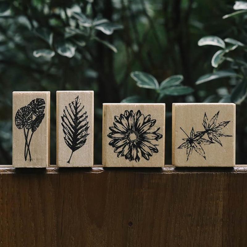 Vintage Natural Leaves Stamp DIY Wooden Rubber Stamps For Scrapbooking Stationery Scrapbooking Standard Stamp