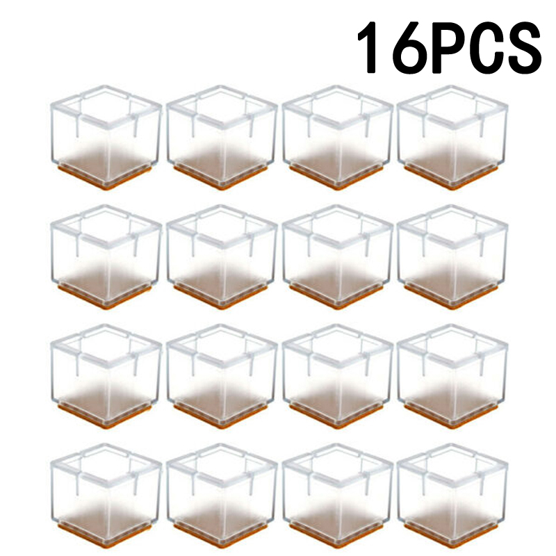 16pcs Silicone Chair Leg Cap Table Feet Covers Floor Protectors 3 Shapes Protect Floor Non-slip New Square Table Foot Cover