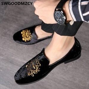 Image 2 - 정장 구두 남성 클래식 이탈리아 브랜드 남성 파티 신발 Coiffeur 자수 남성 정장 구두 로퍼 Sepatu Slip On Pria 48 Bona