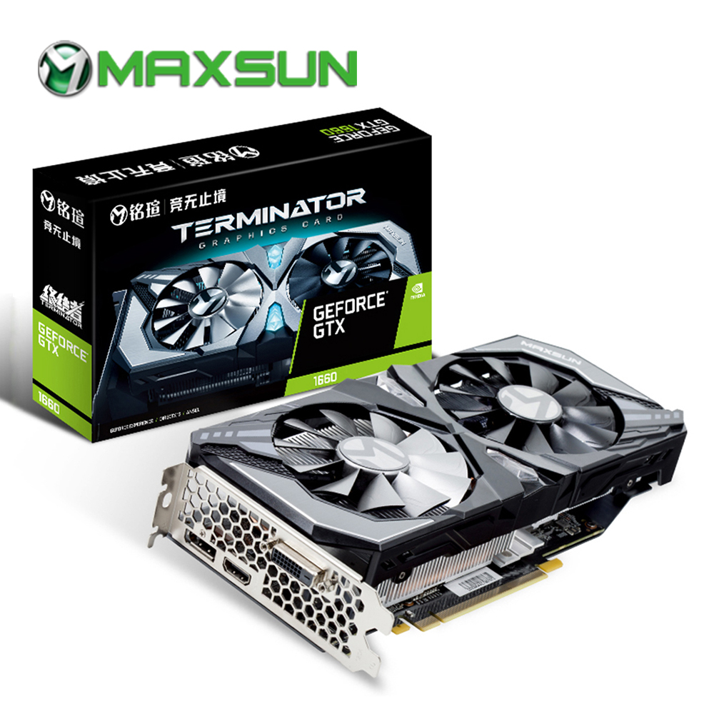 MAXSUN Graphic card gtx 1660 Terminator 6G GDDR5 NVIDIA 192bit 8000MHz 1530MHz Turing TU116 12nm HDMI DP DVI gtx1660 video cardGraphics Cards   -