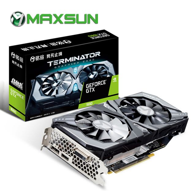 MAXSUN Graphic card gtx 1660 Terminator 6G GDDR5 NVIDIA 192bit 8000MHz 1530MHz Turing TU116 12nm HDMI DP DVI gtx1660 video card