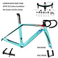 Top carbon fiber road bike frame fork seatpost with 5D carbon handlebar UD weave rim brake disc brake carbon frameset