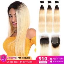 1B 613 Ombre Platinum Honey Blonde Straight Human Hair 3 Bundles With Closure 4x4 Brazilian Remy Hair Bundles With Lace Closure