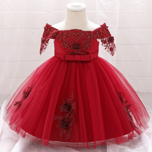 2020 Summer Lace Toddler Baby Girl Dress 1st Birthday Baptism Dress For Girl Clothes Applique Wedding Gown Princess Dresses 5057