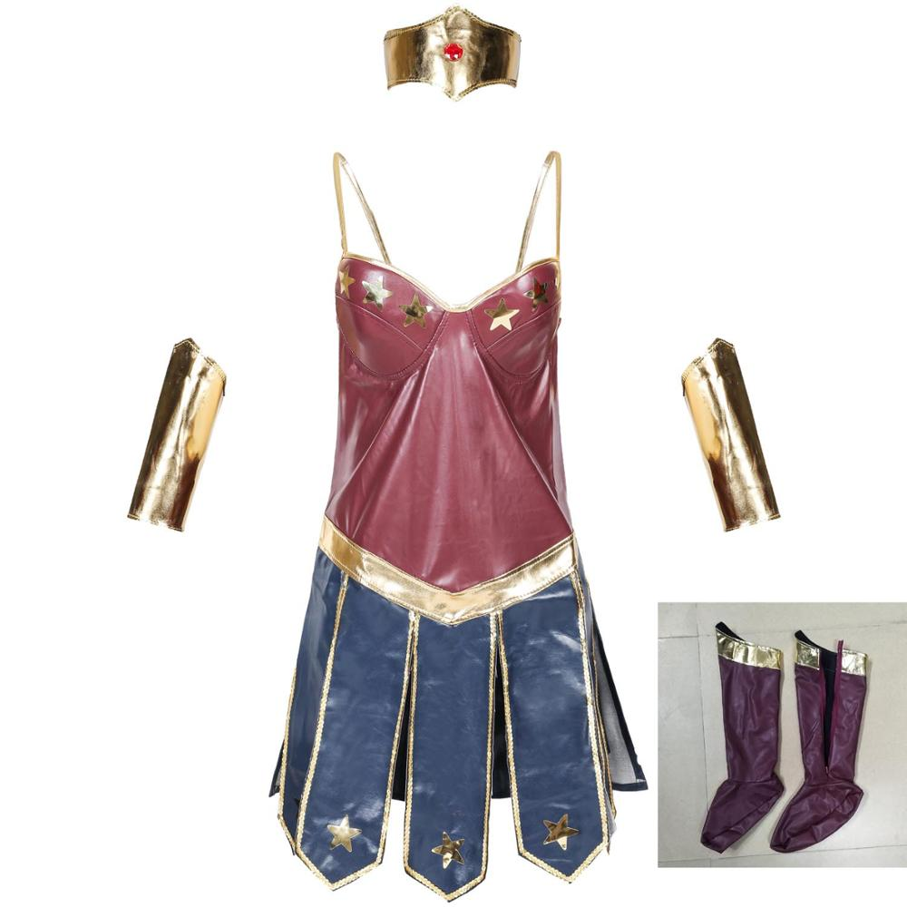 Diana Wonder Woman Costume Cosplay Leather Dress Women Sexy Costume Halloween Costumes Sailor Moon Anime Cosplay The Avengers
