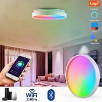 Luces de techo inteligentes LED modernas, iluminación interior inteligente, WiFi, aplicación Tuya, RGB, regulable, Bluetooth, Control de voz