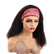 Afro Kinky Curly Wig Human Hair Scarf Wig For Black Women Glueless Headband Wig Remy