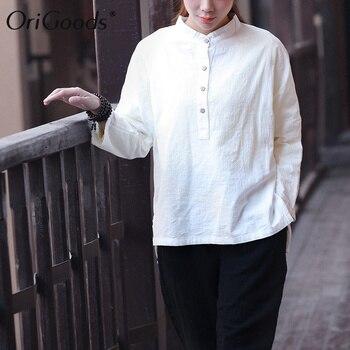 OriGoods Long sleeve Blouse Women Plus size Blouse Shirt Chinese style Vintage Loose Blouse Solid Novelty Original Blouse C094 фото
