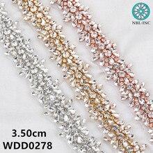 (10 מטרים) סיטונאי כלה חרוזים רוז זהב קריסטל ריינסטון applique trim ברזל על לחתונה שמלת אבנט חגורת WDD0278