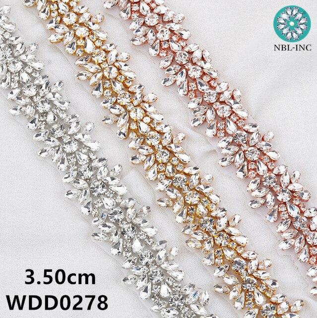 Apliques de diamantes de imitación para vestido de novia, cinturón de banda para vestido de boda WDD0278, oro rosa, 10 yardas, venta al por mayor