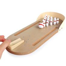 Mini Bowling Toy Set Wooden Desktop Indoor Outdoor Bowling Game Set Classic Desk Ball Board Game for Kids Adults