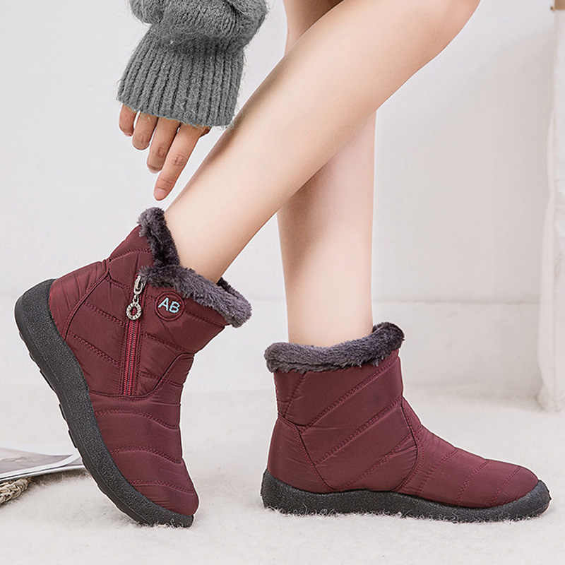Winter Boots Women Snow Boots Fur Warm Ankle Boots For Women Shoes Waterproof Padded Boots Female Winter Shoes Booties Plus Size
