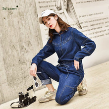 Hipster BF Streetwear Women Denim Cargo Jumpsuit Pants 2019 Autumn Long Sleeve High Waist Retro Jeans Overalls Rompers Female