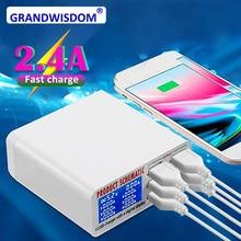 ce rohs 6 Ports USB Charger Smart Charging Multi-Port Travel LCD Digital Display Station Plug US