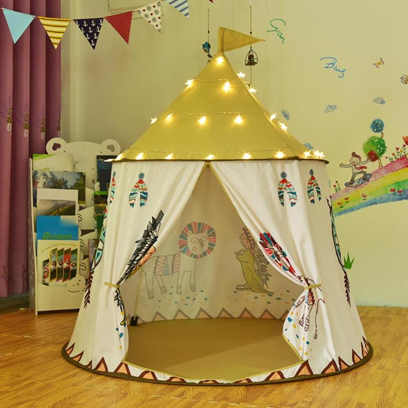 Kid Teepee Tent House 123*116cm Portable Princess Castle Present For Kids Children Play Toy Tent Birthday Christmas Gift